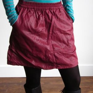YORK Street - Red Waxed Denim Skirt with Pockets